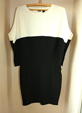 Платье черно-белое миди lindex оверсайз oversize (к000)