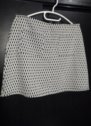 Милая черно-белая юбка трапеция miss selfridge   р. 12(uk), 40(еur)