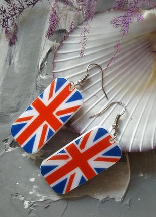 Серьги акриловые британский флаг лондон англия пластика море летние легкие весячие
