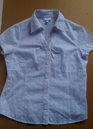Белая итальянская блузка с перфорацией xl