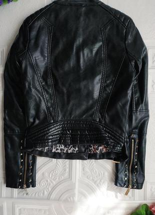 Демисезонная куртка косуха из экокожи7 фото