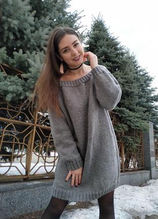 Женское вязаное платье объёмное свободное оверсайз крупная ручная вязка