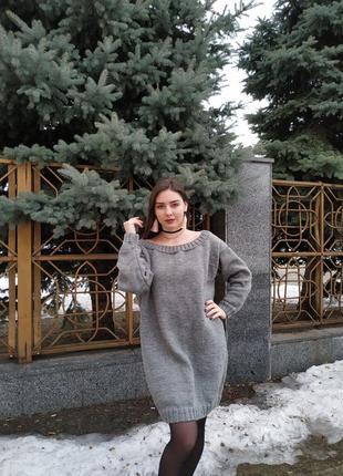 Женское вязаное платье объёмное свободное оверсайз крупная ручная вязка4 фото
