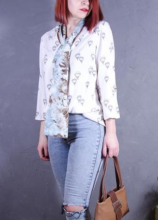 Белая блуза с минималистичным принтом, свободная рубашка f&f