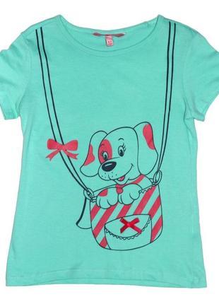 Новая светло-зеленая футболка с принтом для девочки, ovs kids, 206806