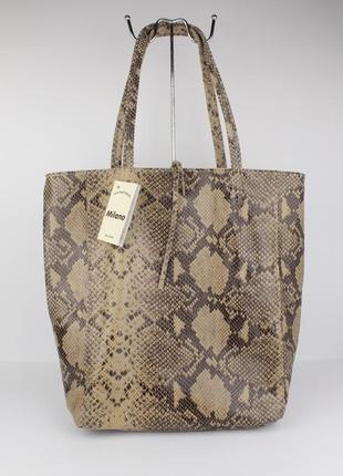 Хит! кожаная сумка-шоппер vera pelle 323915 питон бежевый, италия