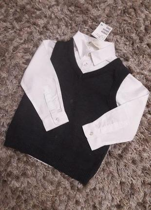 Рубашка+жилетка h&m
