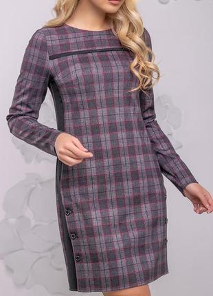 Полуприлегающее платье в клетку из костюмной ткани (s, m, l, xl,xxl,3xl,4xl/3 расцветки)