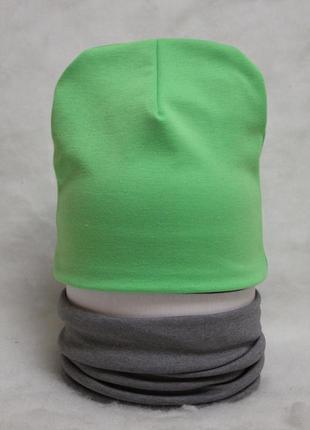 Комплект шапка и снуд салатовый серый двухсторонние новые демисезонные