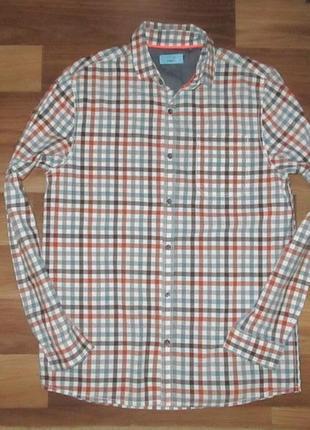 Котоновая рубашка в клетку фирмы некст на 13 лет