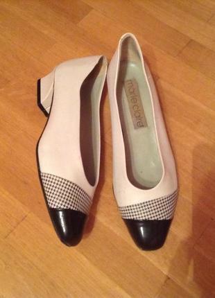 Мегастильные красивые туфли кожа marie claire 38-38,5 размер стиль chanel италия