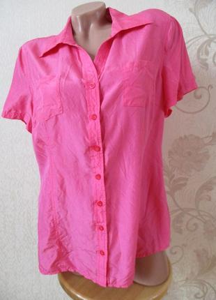 Рубашка шелковая/неон/шелк/розовый/фуксия/l-xl