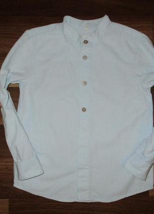 Голубенькая котоновая рубашка фирмы name it на 6 лет