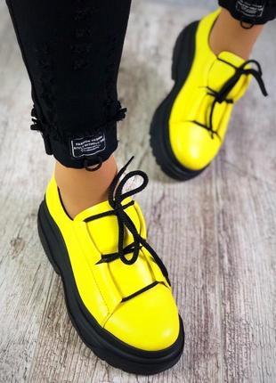Рр 36-40 осень(зима)натуральная кожа люксовые ботиночки лимонного цвета на платформе
