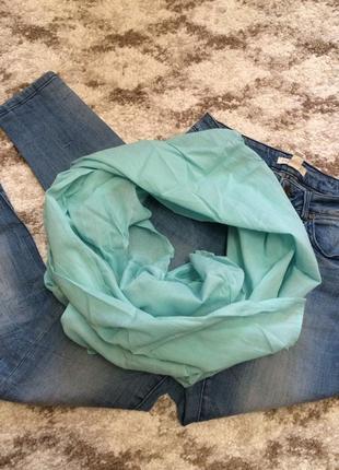 Фирменный мятный шарф vero moda из натуральной ткани,шарфик в подарок