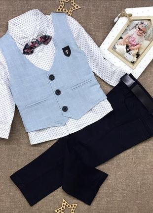Костюм 4ка. (жилетка (лён+коттон )+рубашка(80коттон, 20полиамид)+брюки( коттон)+бабочка.