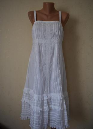 Натуральное  белое платье
