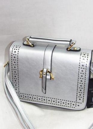 Клатч, сумка через плечо 525 серебро