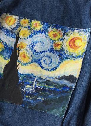 a10425965c54 Ван гог джинсовка оверсайз ручная работа звёздная ночь Ручная Работа ...