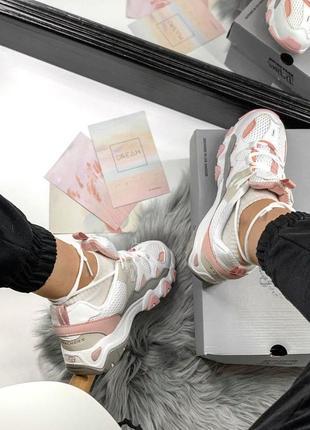 Шикарные женские кроссовки skechers d'lites pink/white 😍 (весна/ лето/ осень)2 фото