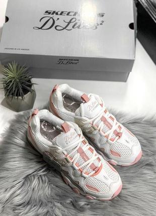 Шикарные женские кроссовки skechers d'lites pink/white 😍 (весна/ лето/ осень)4 фото