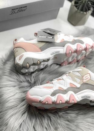 Шикарные женские кроссовки skechers d'lites pink/white 😍 (весна/ лето/ осень)7 фото