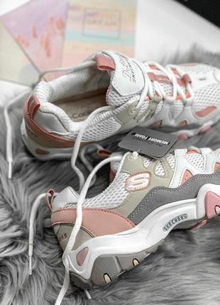 Шикарные женские кроссовки skechers d'lites pink/white 😍 (весна/ лето/ осень)9 фото
