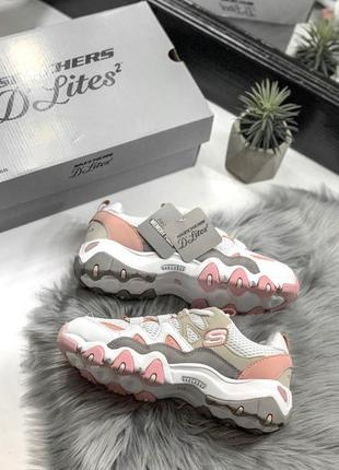 Шикарные женские кроссовки skechers d'lites pink/white 😍 (весна/ лето/ осень)10 фото