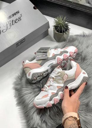 Шикарные женские кроссовки skechers d'lites pink/white 😍 (весна/ лето/ осень)1 фото