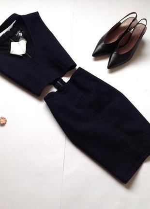Джинсовое темно-синее платье мини boohoo