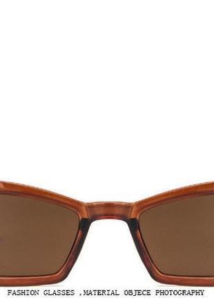 Солнцезащитные очки-лисички полупрозрачные шоколадные с дымчатой линзой