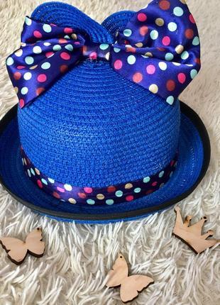 Шляпа летняя на девочку, панама для девочки,шляпа с ушками.