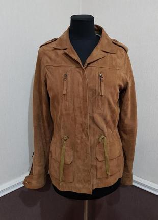 Кожаная замшевая коричневая курточка kookai франция