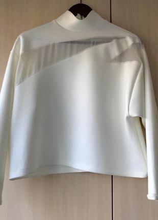 Роскошный белый свитшот с шифоновыми вставками zara, s, m