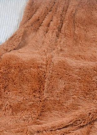 Пушистое покрывало травка - полуторное - молочный шоколад