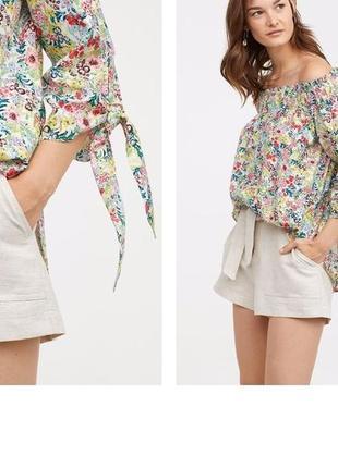 Блуза с открытыми плечами в цветочный принт./блуза  рубашка  h&m zara
