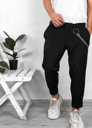 Скидка! черные зауженные и укороченные штаны