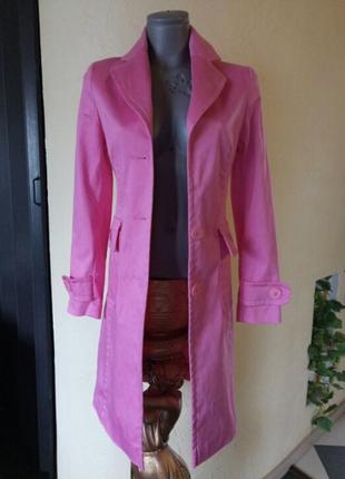 Коттоновый стрейчевый плащ,тренч розового цвета2 фото