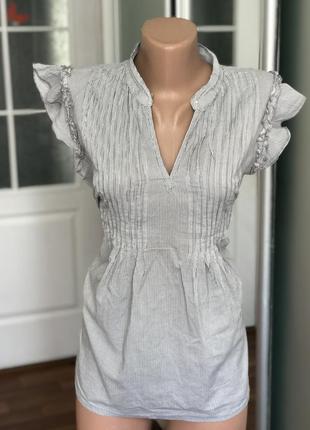 Блузка блуза с коротким рукавом в мелкую полосочку приталенная