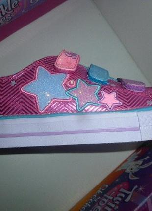 Skechers светящиеся кеды с огоньками мигалками girls twinkle toes