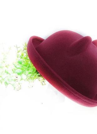 Бордовая марсал вишня фетровая шляпа с ушками