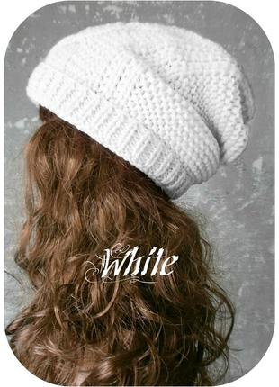 Любая расцветка! хлопковая фактурная шапка beanie с отворотом/косы/белого цвета