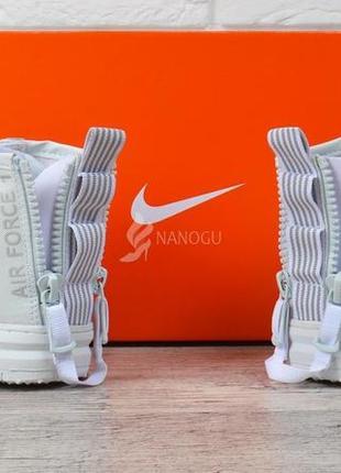 Кроссовки женские кожаные nike air force 1 белые на платформе индонезия4 фото