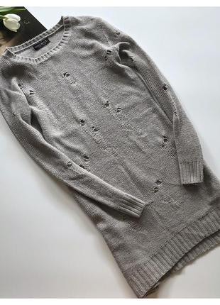 Стильное вязаное платье туника с рванками select рр м-л