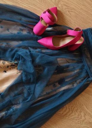 Невероятное женственное вечернее платье сетка цветы