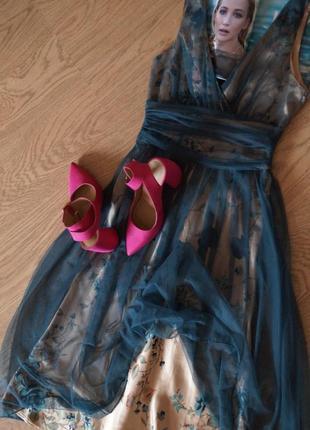 Невероятное женственное вечернее платье сетка цветы2 фото
