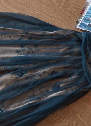 Невероятное женственное вечернее платье сетка цветы4 фото