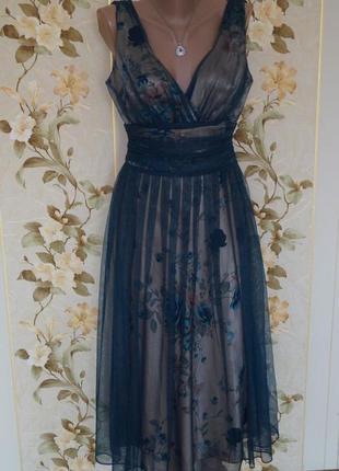 Невероятное женственное вечернее платье сетка цветы5 фото