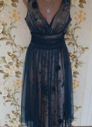 Невероятное женственное вечернее платье сетка цветы6 фото