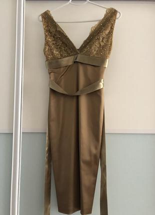 Нереальное коктейльное платье бронзового цвета
